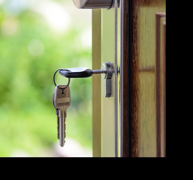 Photo of keys in door lock